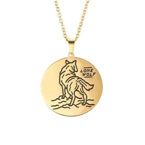 Gold Lone Wolf Necklace - American Wolves