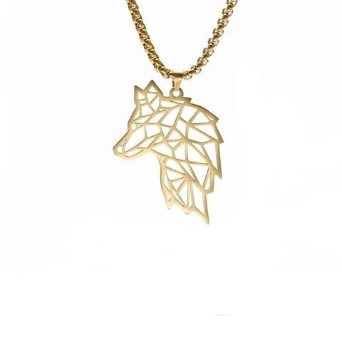 Gold Star Guide Origami Wolf Necklace - American Wolves