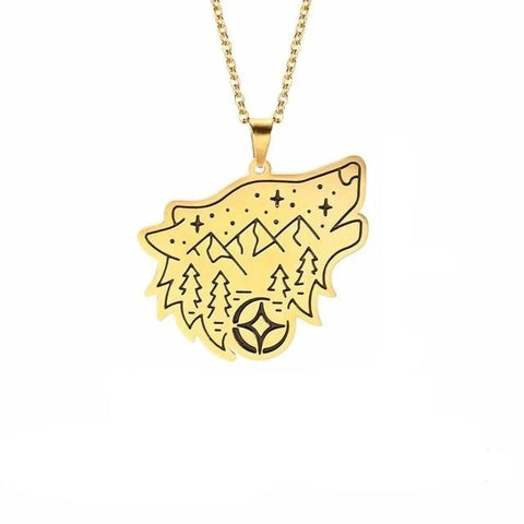 Gold Wanderlust Wolf Necklace - American Wolves