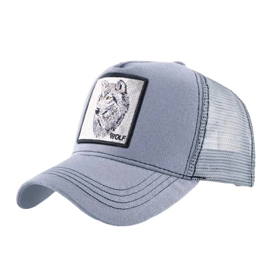 Gray Trucker Wolf Hat - American Wolves