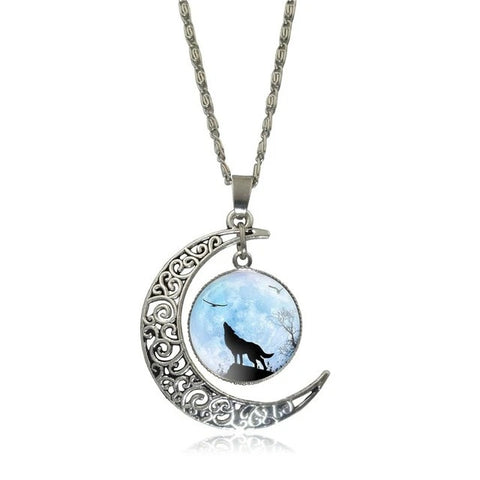 Into The Blue Sky Howling Wolf Necklace - American Wolves