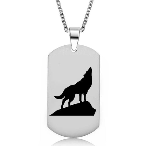 Military Howling Wolf Necklace - American Wolves