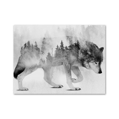 Misty Lone Wolf Wall Art - American Wolves