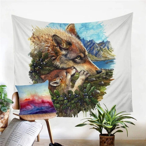 Mom Wolf Tapestry Wall Art - American Wolves