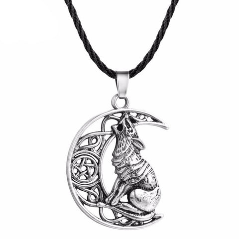 Moon Lover Silver Wolf Necklace - American Wolves