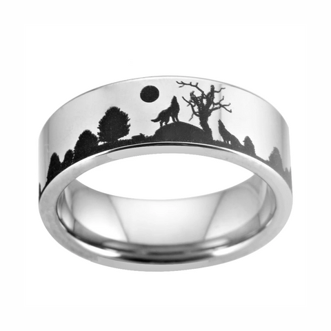 Moon Howling Wolf Ring - American Wolves