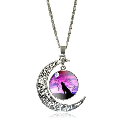 Pink Sky Howling Wolf Necklace - American Wolves