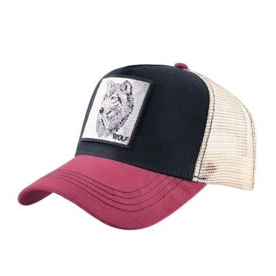 Red & Black Trucker Wolf Hat - American Wolves
