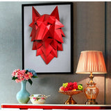 Red Origami 3D Wolf Head Wall Art - American Wolves
