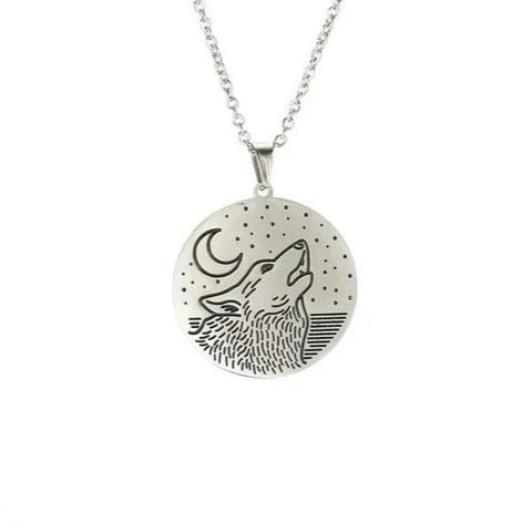 Silver Head Into The Stars Wolf Necklace - American Wolves