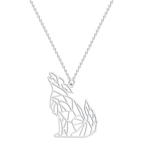 Silver Howling Origami Wolf Necklace - American Wolves