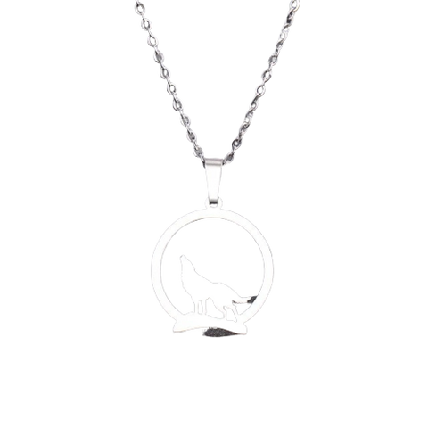 Silver Howling Wolf Necklace - American Wolves