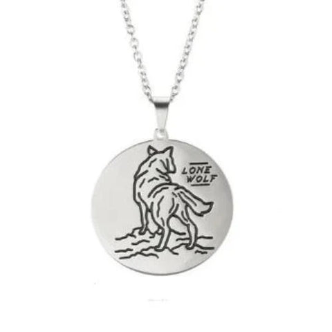 Silver Lone Wolf Necklace - American Wolves