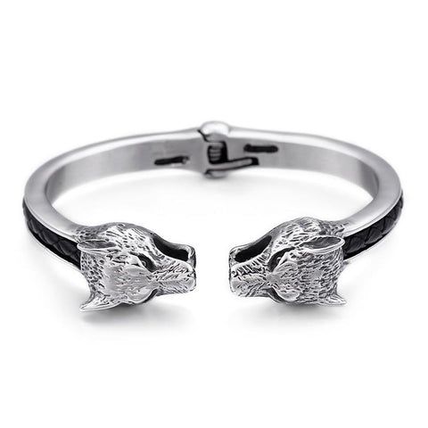 Silver Steel Double Headed Wolf Bracelet - American Wolves