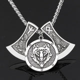 Silver Viking Odin's Wolf Necklace - American Wolves