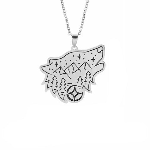 Silver Wanderlust Wolf Necklace - American Wolves