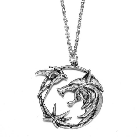 Silver Witcher Wolf Necklace - American Wolves