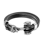 Silver Wolf Leather Bracelet - American Wolves