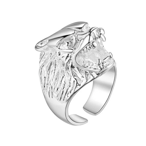 Silver Growling Wolf Ring - American Wolves