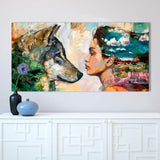 Soulmates Girl Wolf Wall Art - American Wolves