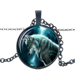 Streaking Light Black Wolf Necklace - American Wolves
