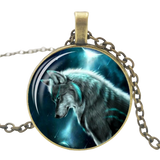 Streaking Light Bronze Wolf Necklace - American Wolves