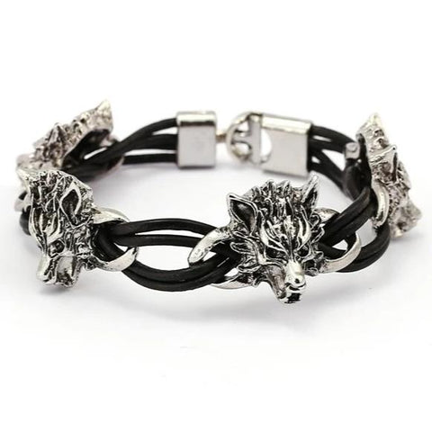 Twisted Leather Wolf Bracelet - American Wolves