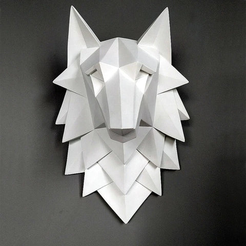 White Origami 3D Wolf Head Wall Art - American Wolves