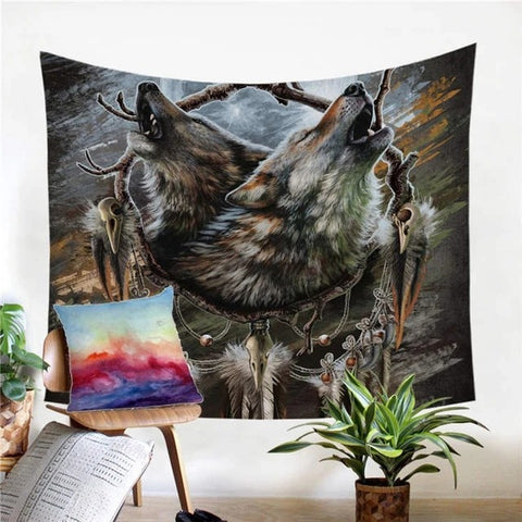 Wolf Warrior Brothers Tapestry Wall Art - American Wolves