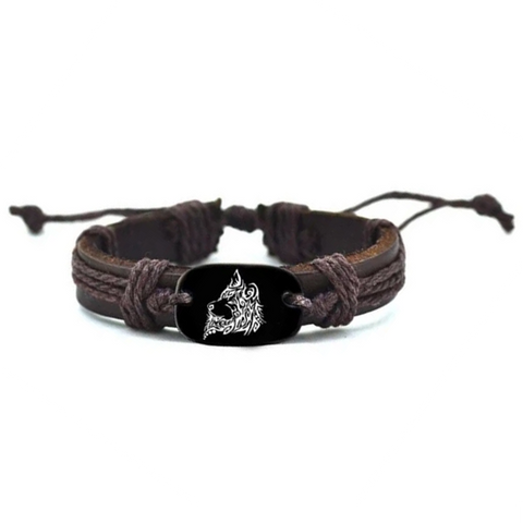 Woven Rope Leather Wolf Bracelet - American Wolves