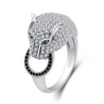 Diamond Stud Silver Wolf Ring - American Wolves