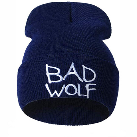 Navy Blue Embroidered Bad Wolf Beanie - American Wolves