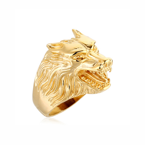Alpha Gold Wolf Ring - American Wolves
