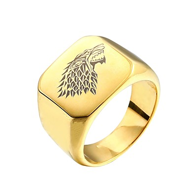 House Stark Signet Gold Wolf Ring - American Wolves