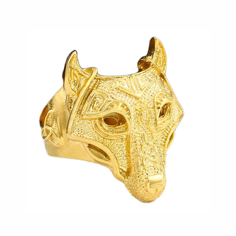 Nordic Gold Wolf Ring - American Wolves
