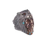 Native Indian Shaman Silver Wolf Ring - American Wolves