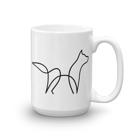 One Line Drawing Wolf Mug - American Wolves