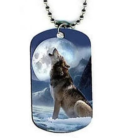Double Sided Military Wolf Necklace - American Wolves