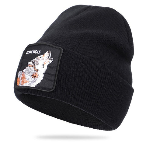Black Patched Ribbed Lonewolf Beanie - American Wolves