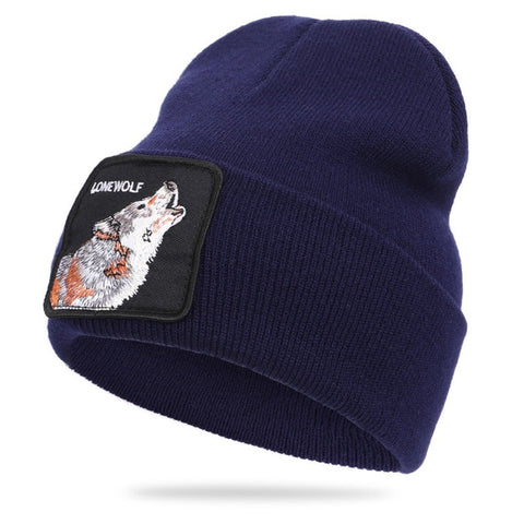 Blue Patched Ribbed Lonewolf Beanie - American Wolves