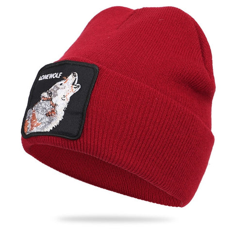 Red Patched Ribbed Lonewolf Beanie - American Wolves