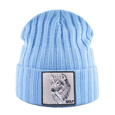 Sky Blue Patched Knitted Alpha Wolf Beanie - American Wolves