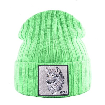 Green Patched Knitted Alpha Wolf Beanie - American Wolves
