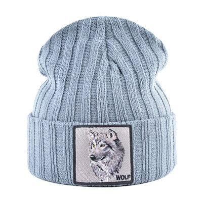 Gray Patched Knitted Alpha Wolf Beanie - American Wolves