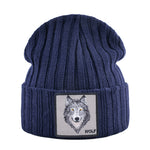 Patched Knitted Wolf Beanie - American Wolves