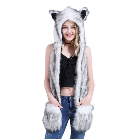 Gray Faux Fur Wolf Hat - American Wolves
