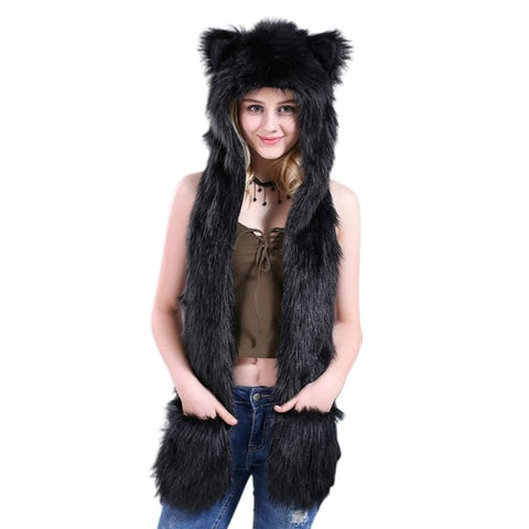 Black Faux Fur Wolf Hat - American Wolves