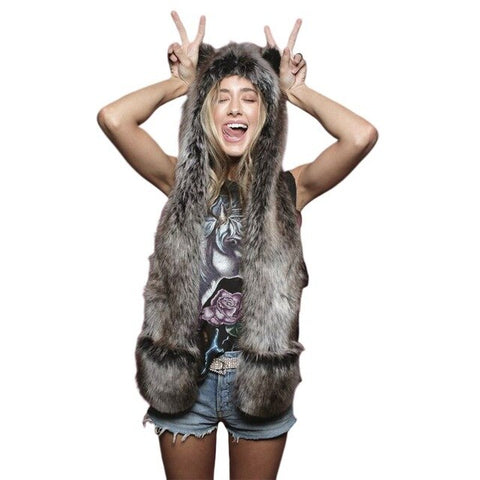 Dark Gray Faux Fur Wolf Hat - American Wolves