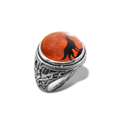 Red Moon Shadow Wolf Ring - American Wolves