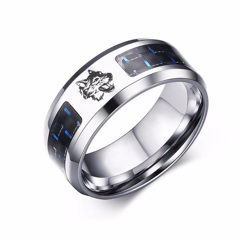 Engraved Wedding Silver Wolf Ring - American Wolves
